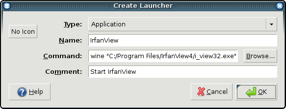 Image of the dialogue for creating a new Launcher.